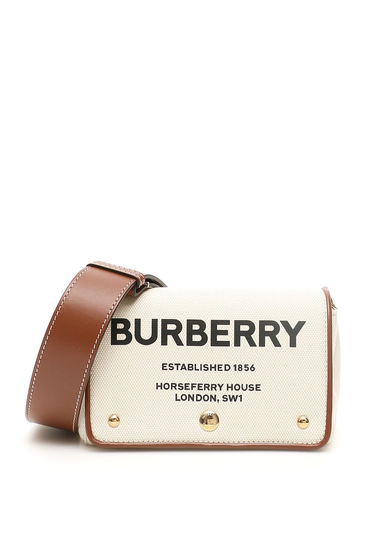 BURBERRY HACKBERRY MINI BAG OS Beige, Brown Leather, Cotton