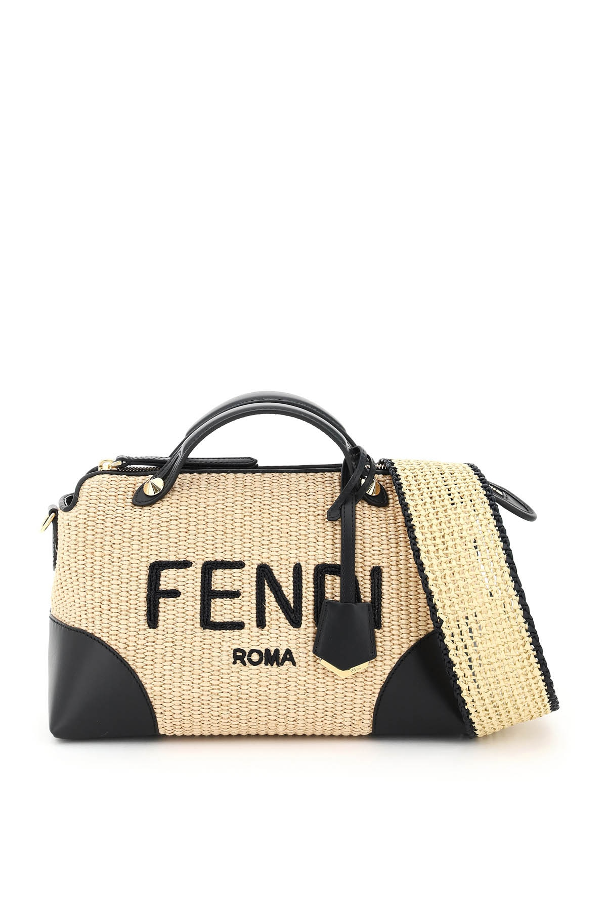 FENDI BY THE WAY MEDIUM BAG OS Black, Beige Leather, Cotton