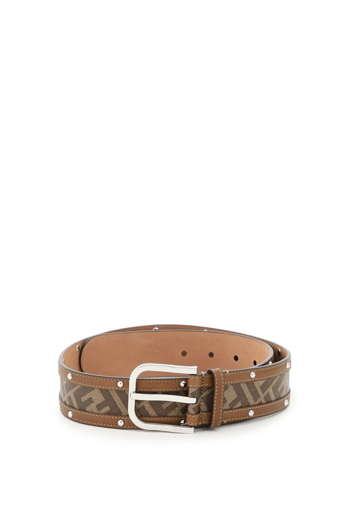FENDI FF BELT WITH STUDS 100 Brown Leather, Cotton