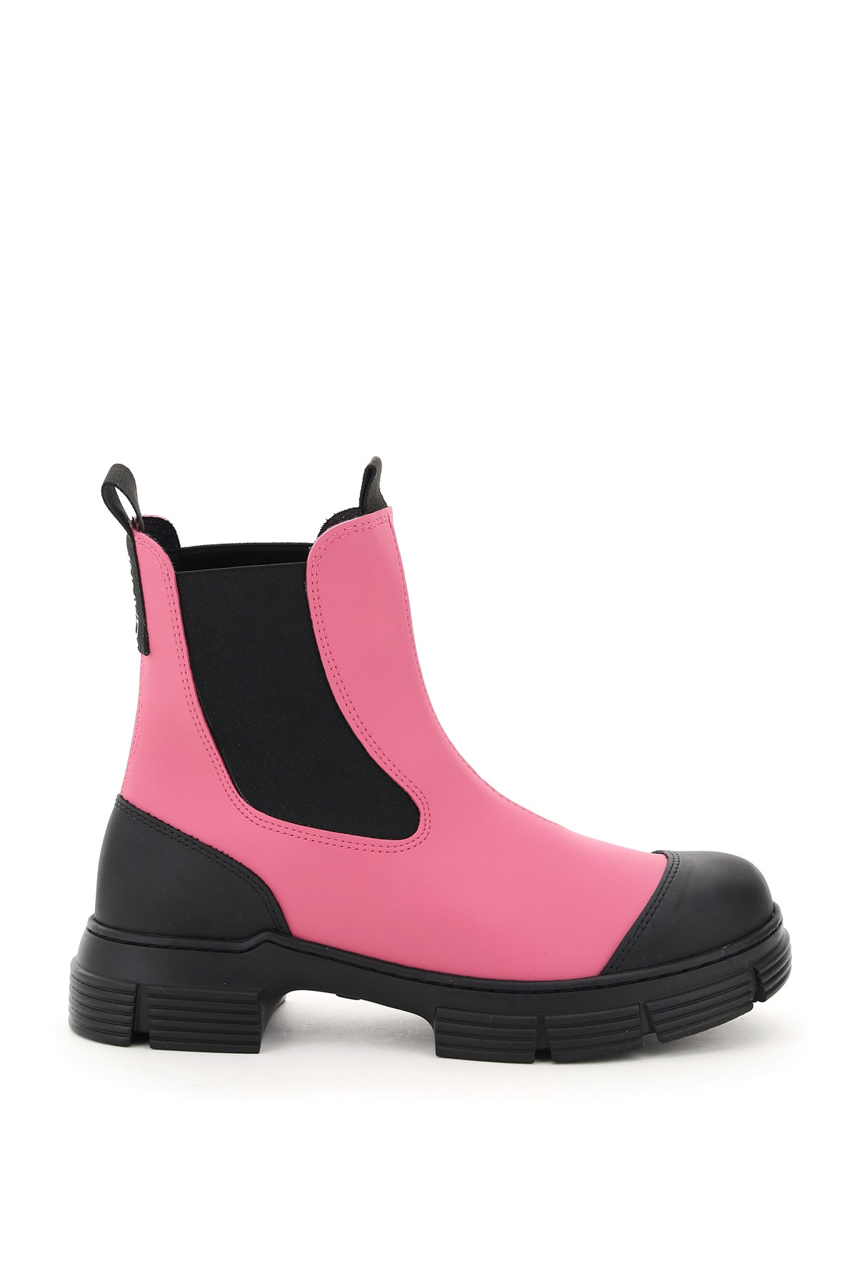 Ganni Recycled Rubber Chelsea Boots 36 Black, Fuchsia