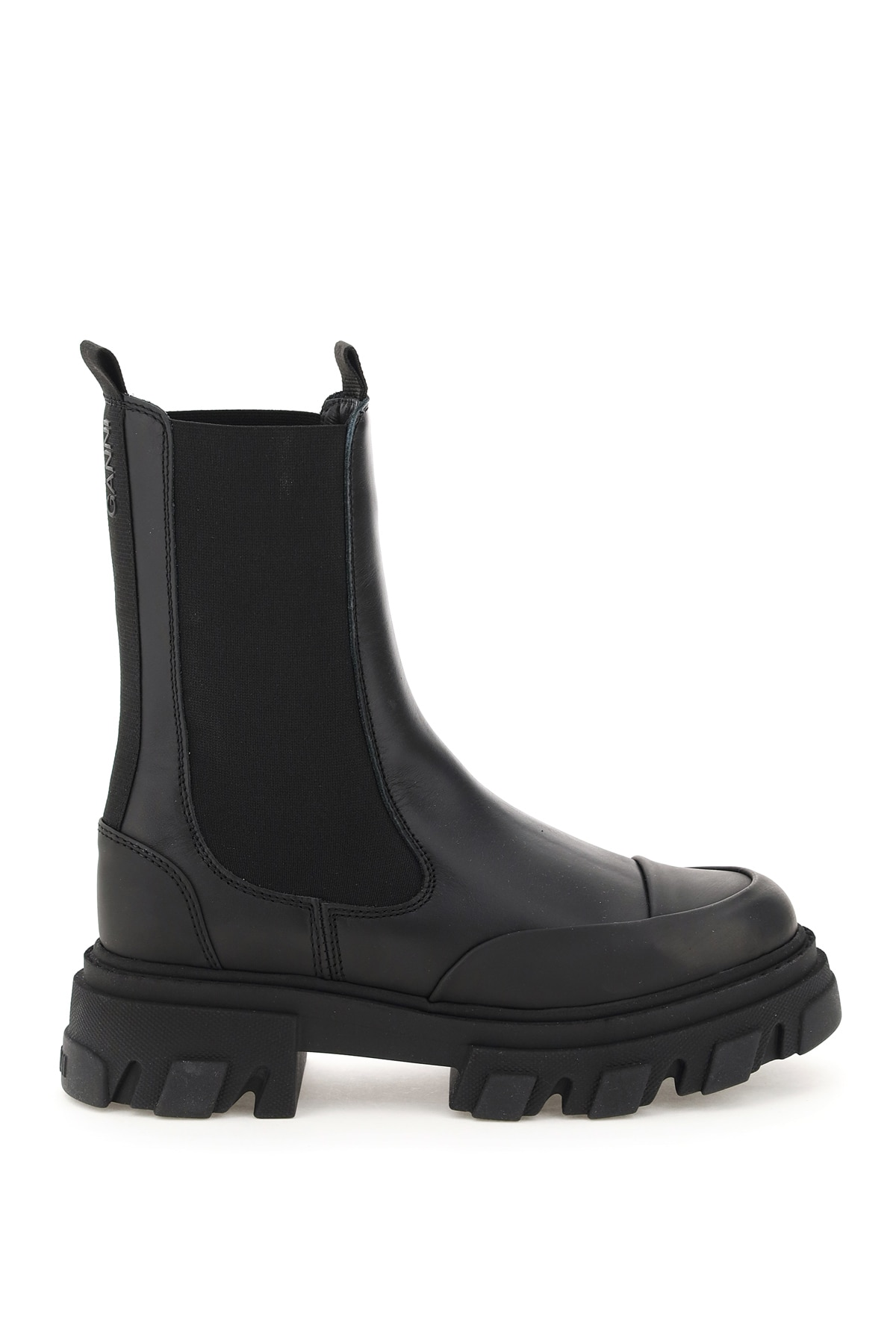 Ganni Leather Mid Chelsea Boots 40 Black Leather