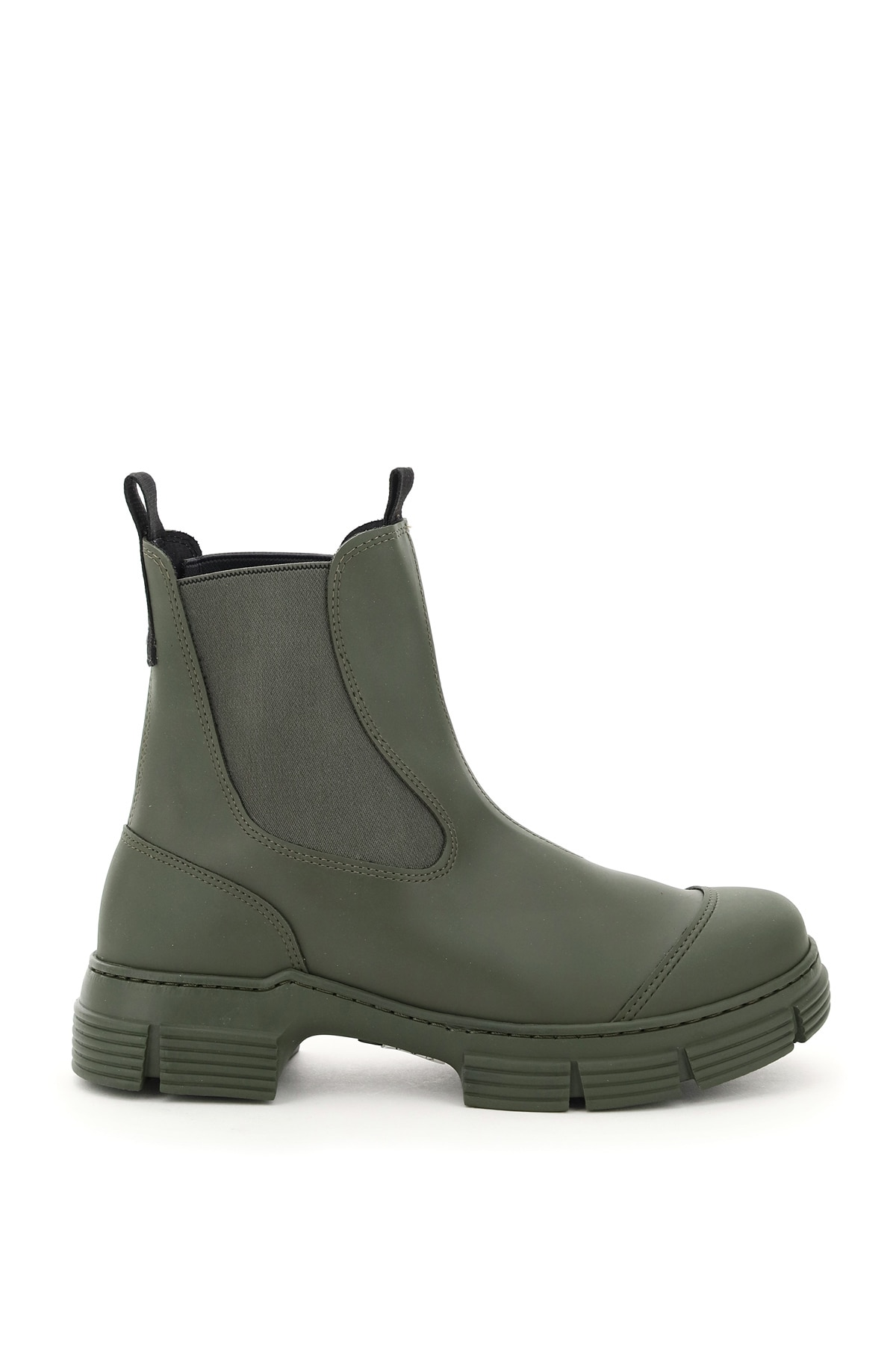 Ganni Recycled Rubber Chelsea Boots 36 Green