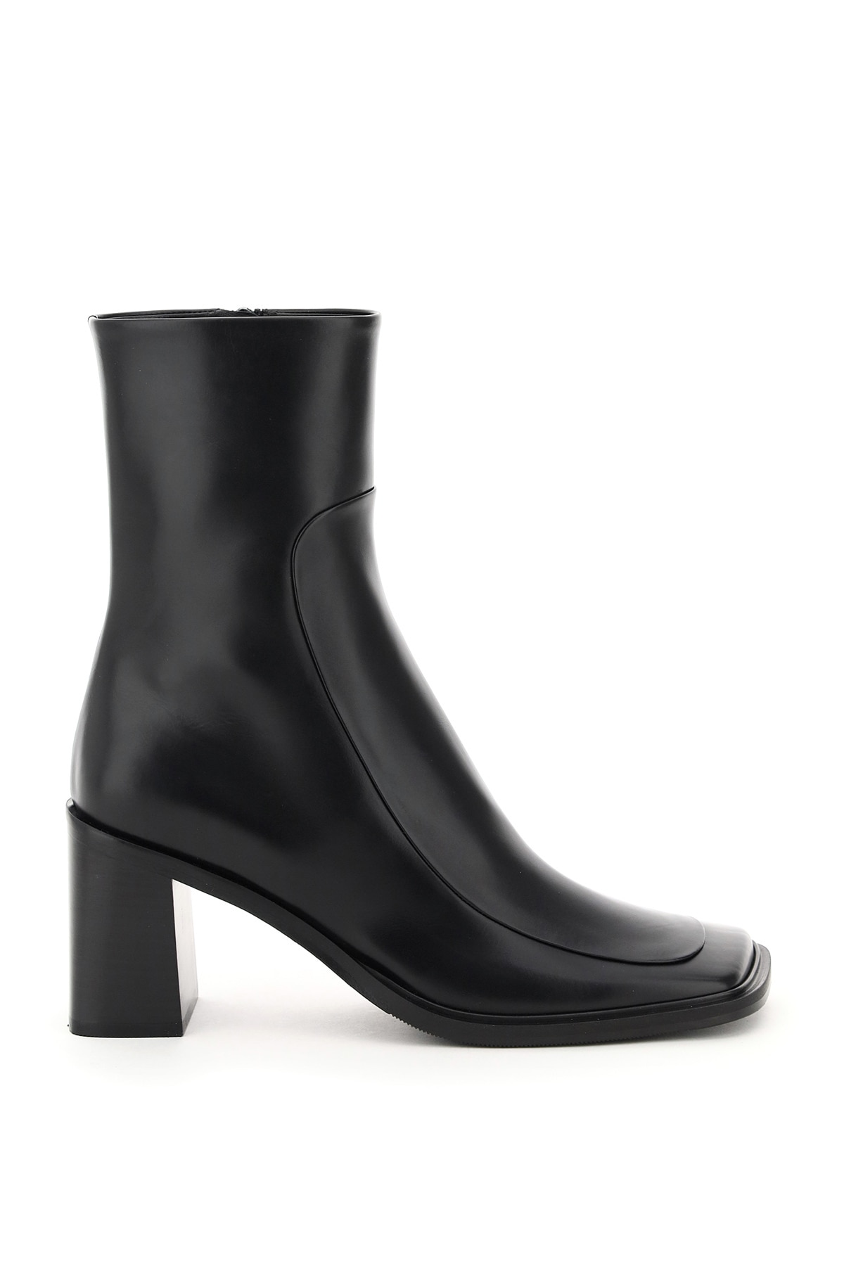THE ROW PATCH LEATHER ANKLE BOOTS 38 Black Leather