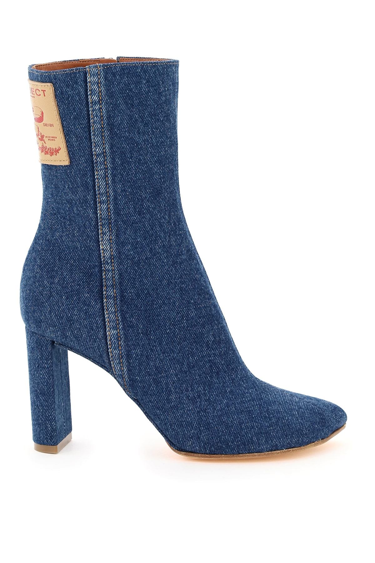 Y Project Pointy Patent Ankle Boots 37 Blue Cotton, Denim