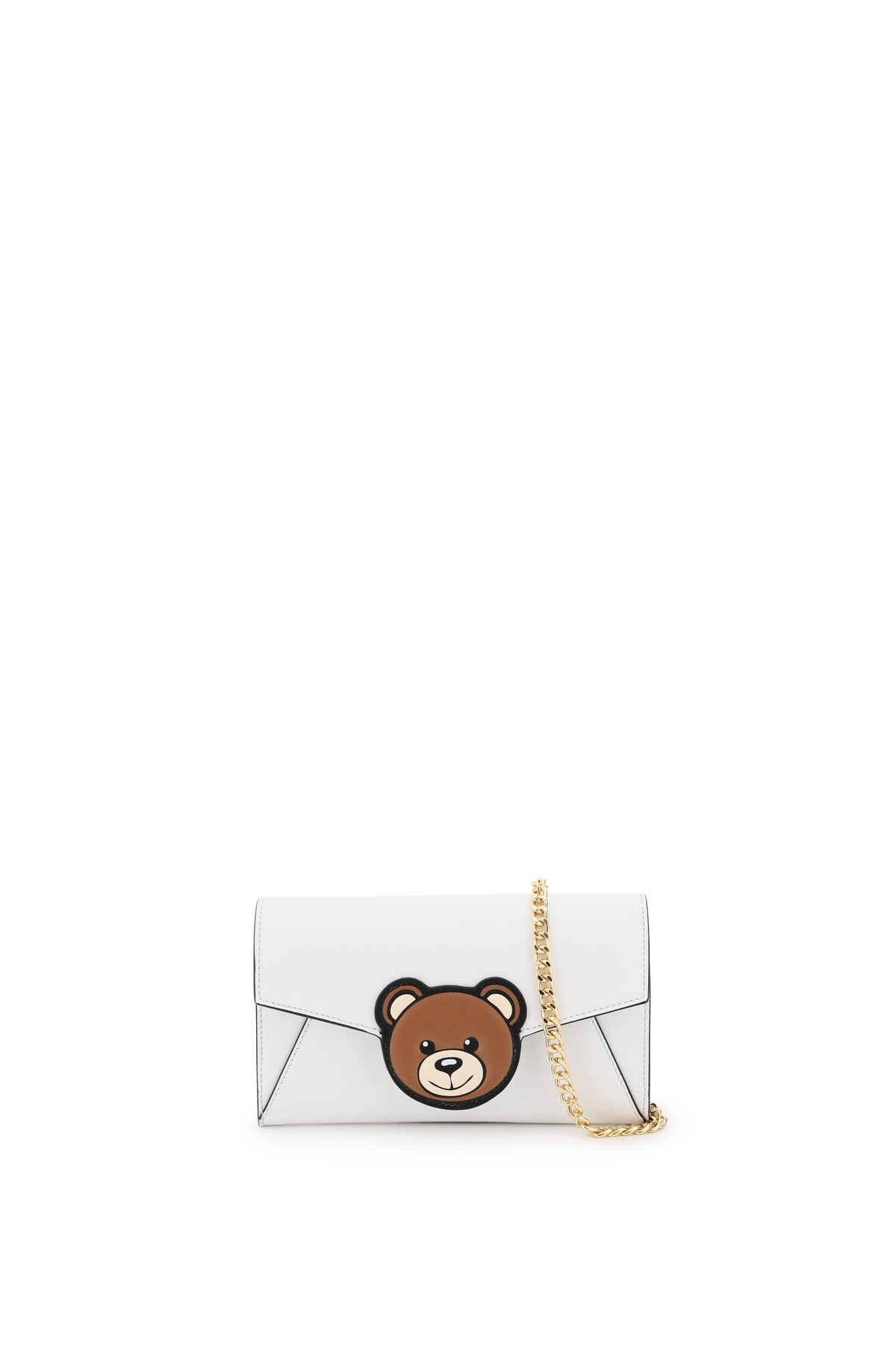 MOSCHINO MINI BAG CHAIN TEDDY BEAR PATCH OS White Leather