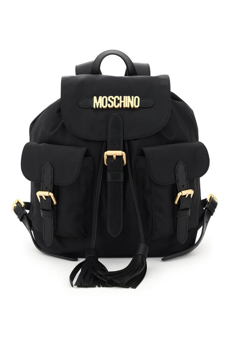 moschino backpacks backpack with tassels and logo