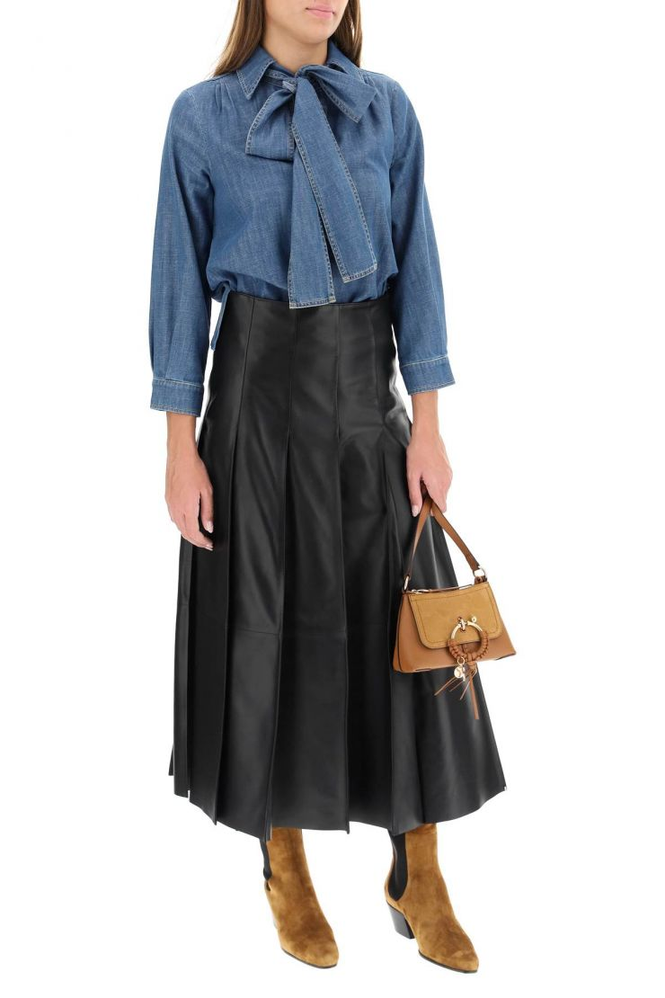 see by chloe shirts denim blouse with lavalliÈre scarf