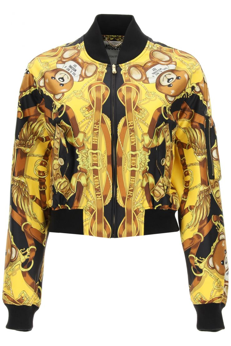 moschino bomber jackets silk bomber with teddy scarf print