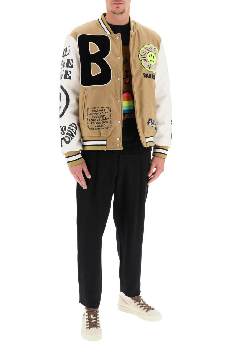 barrow bra912 college bomber jacket in wool and faux leather