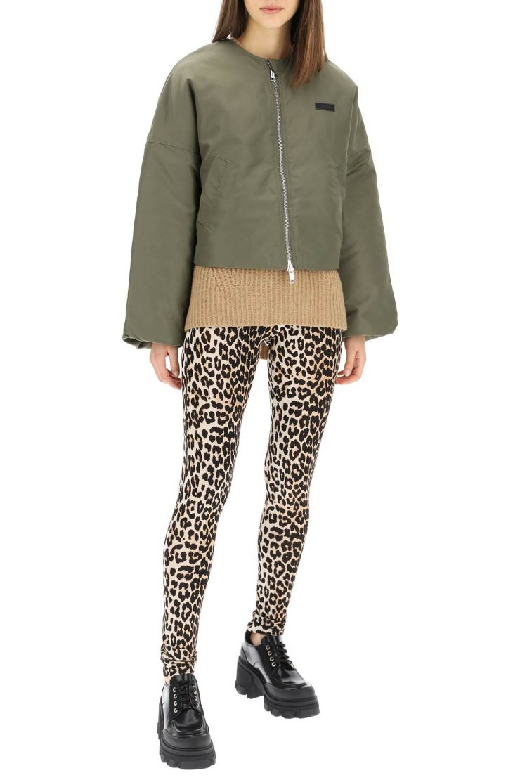 ganni outerwear cropped bomber jacket