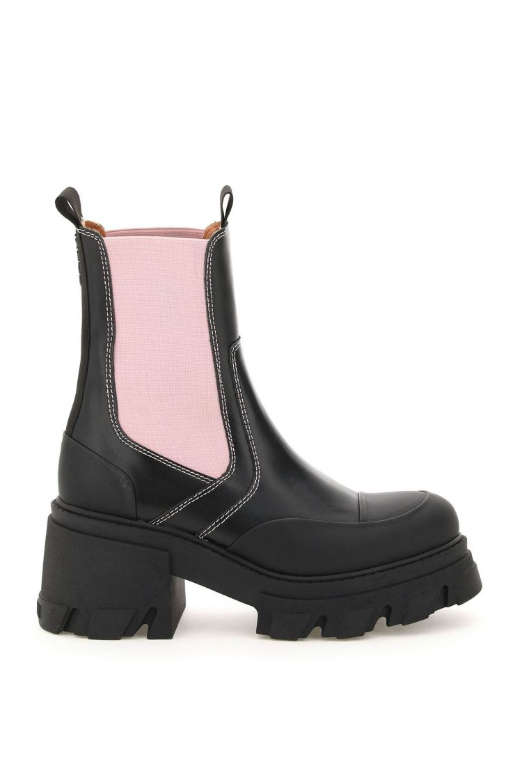 ganni boots and booties chelsea boots with oversized heel