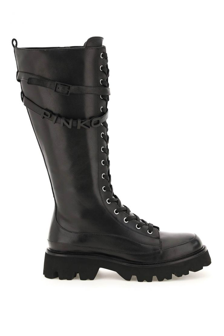 pinko boots and booties leather high combat boots