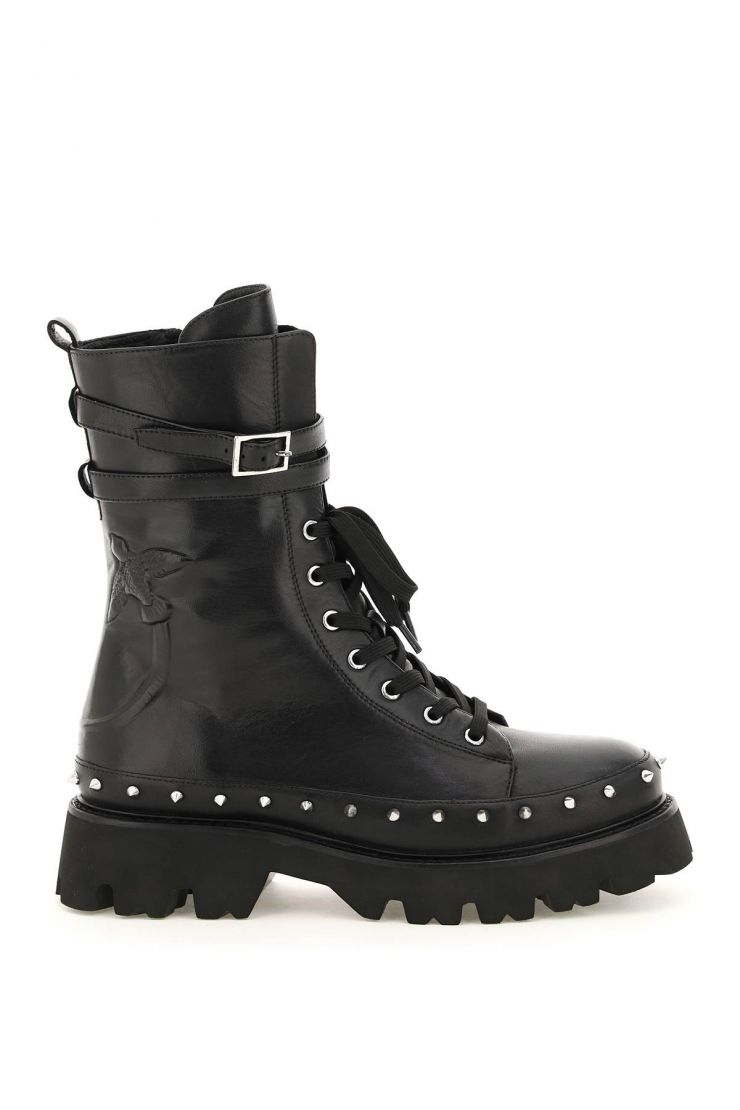 pinko boots and booties leather combat boots with studs