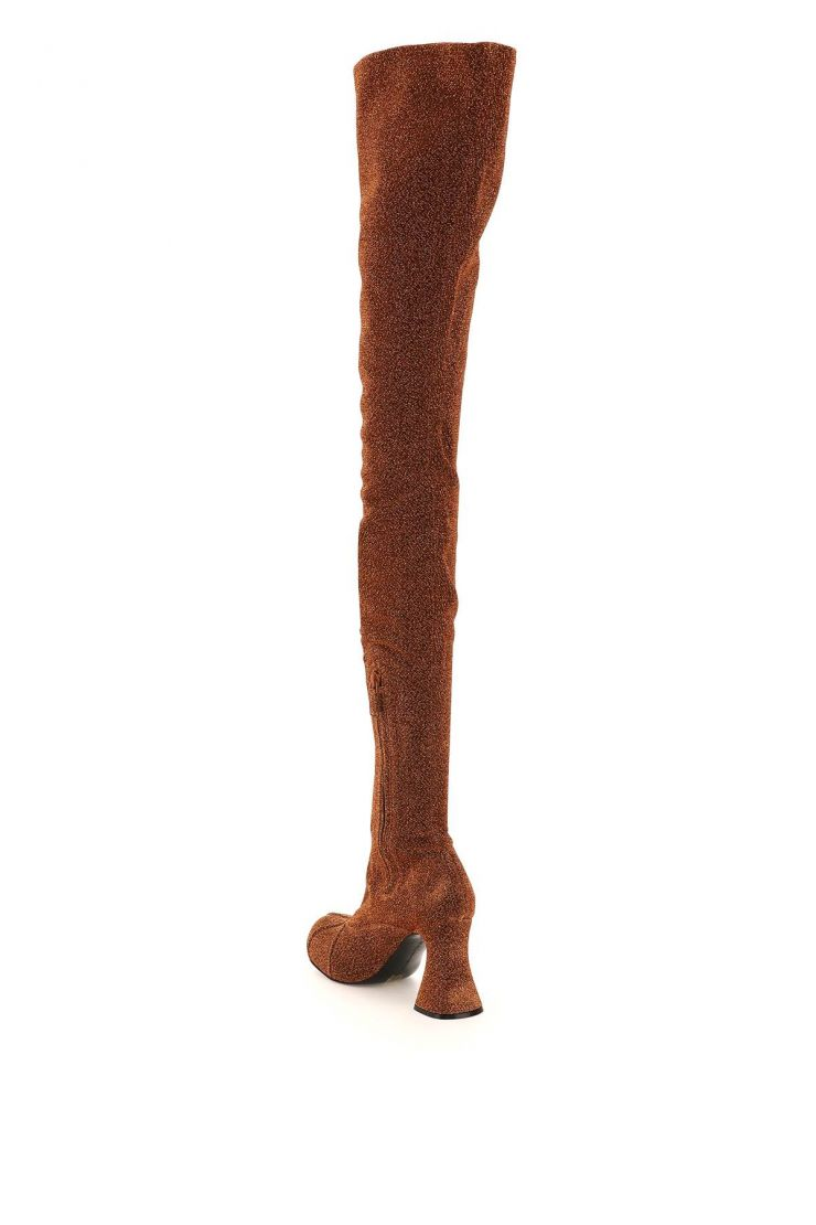 stella mccartney boots and booties duck city glitter over-the-knee boots