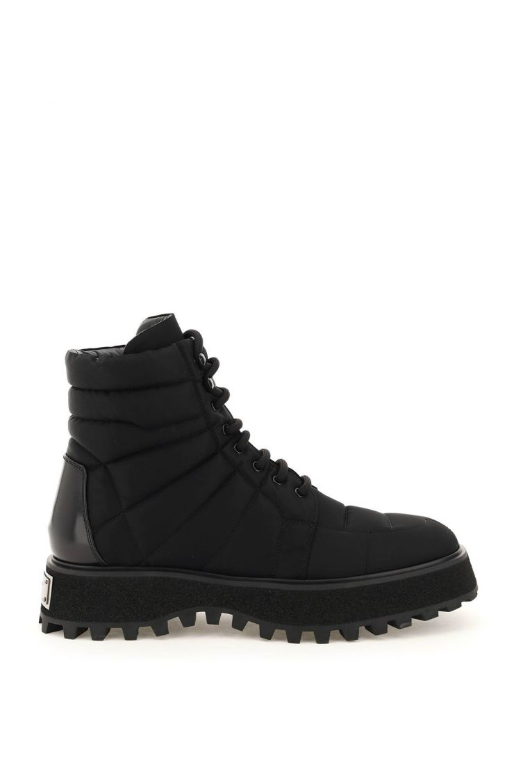 dolce & gabbana boots nylon lace-up boots