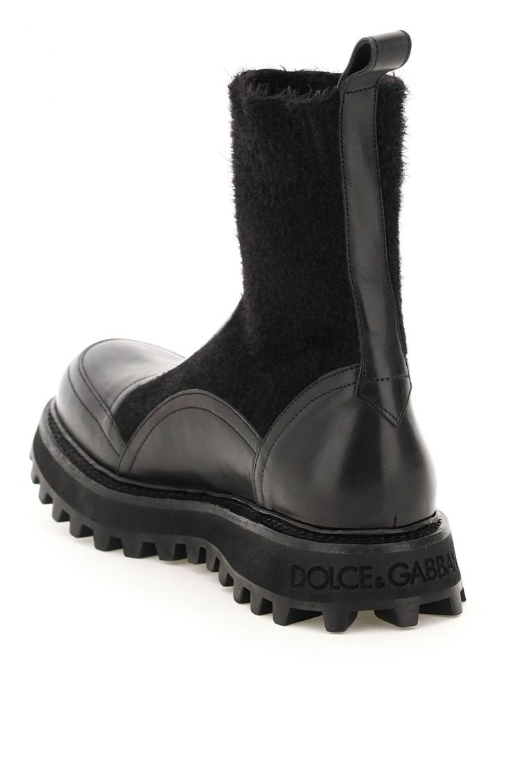 dolce & gabbana boots logo knit ankle boots