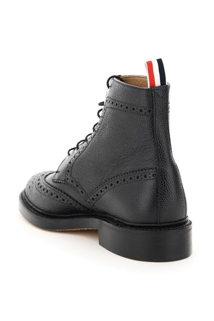 thom browne relaxed elegance classic wingtip lace-up boots