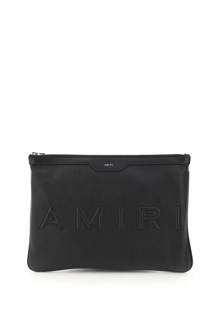 amiri business and travel bags embossed logo pouch