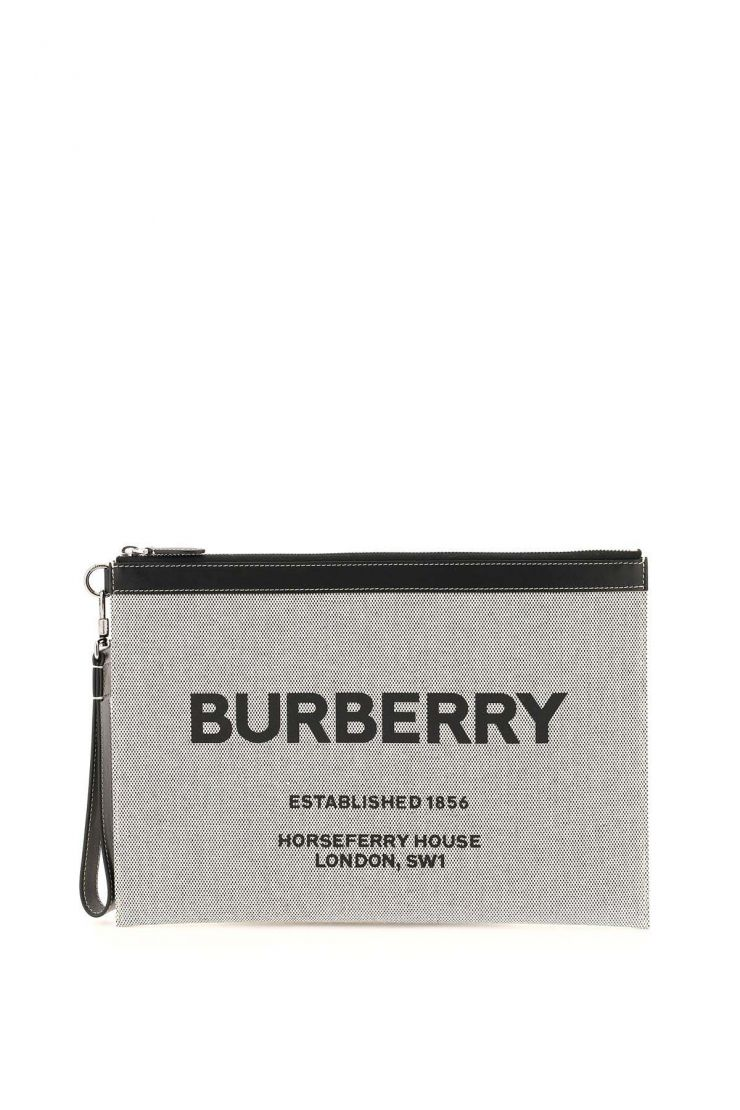burberry business and travel bags horseferry print large pouch in cotton canvas