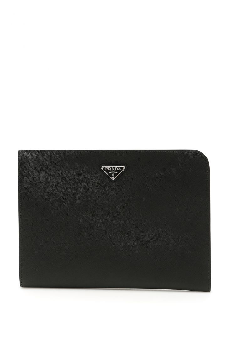 prada business and travel bags document holder in saffiano