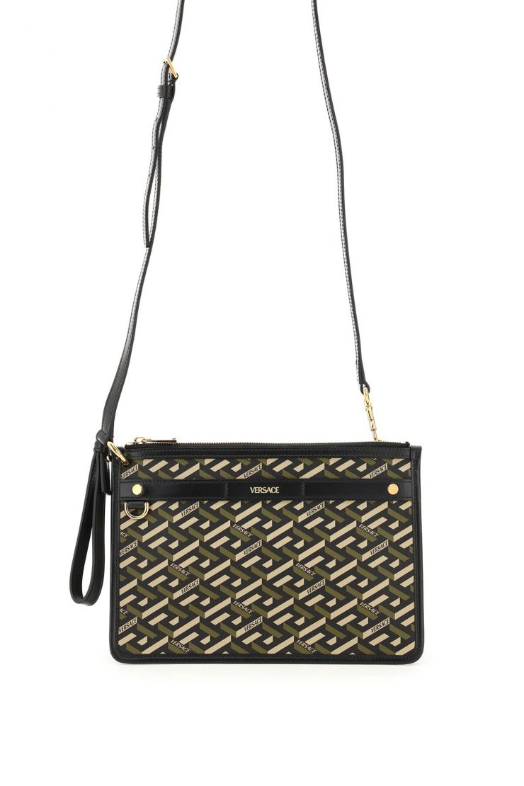 versace business and travel bags la greca signature pouch with shoulder strap
