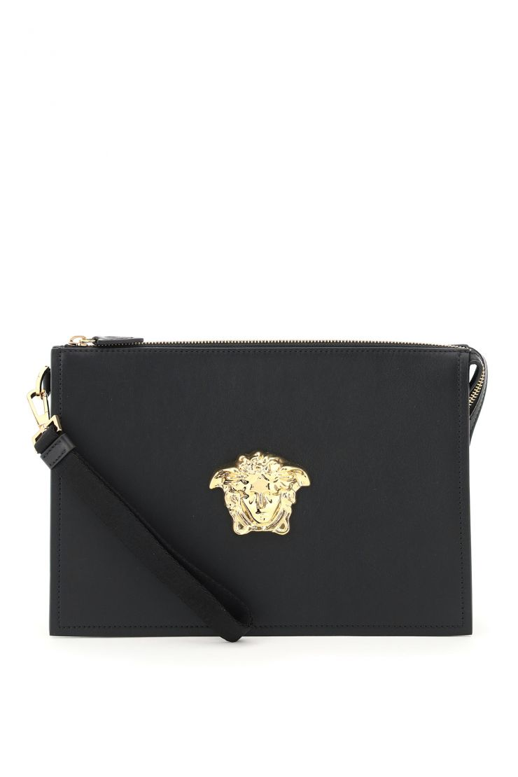 versace business and travel bags la medusa leather clutch