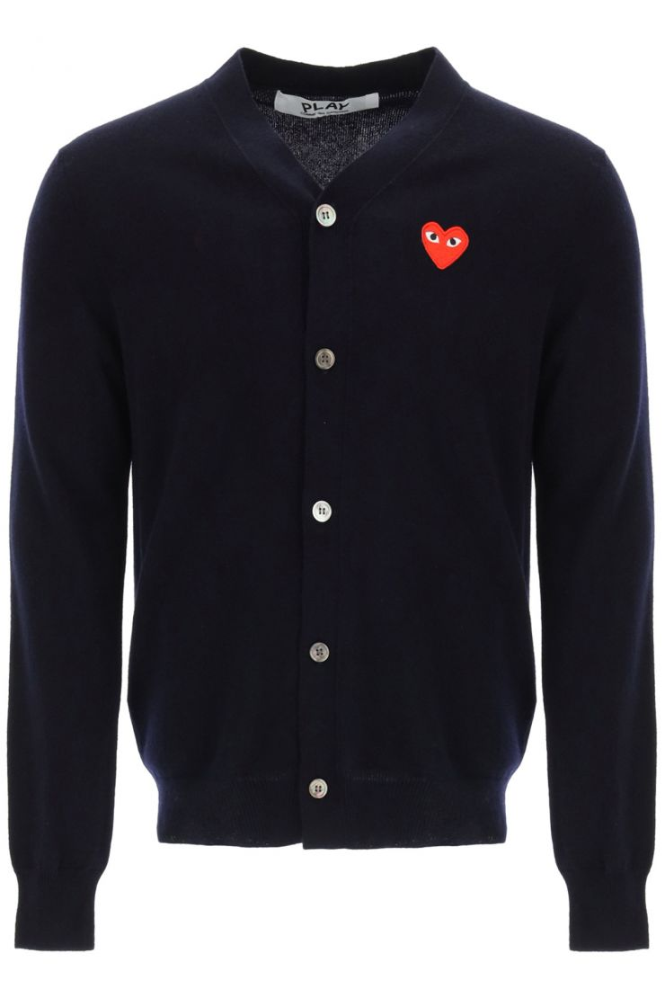 comme des garcons play knitwear heart patch cardigan