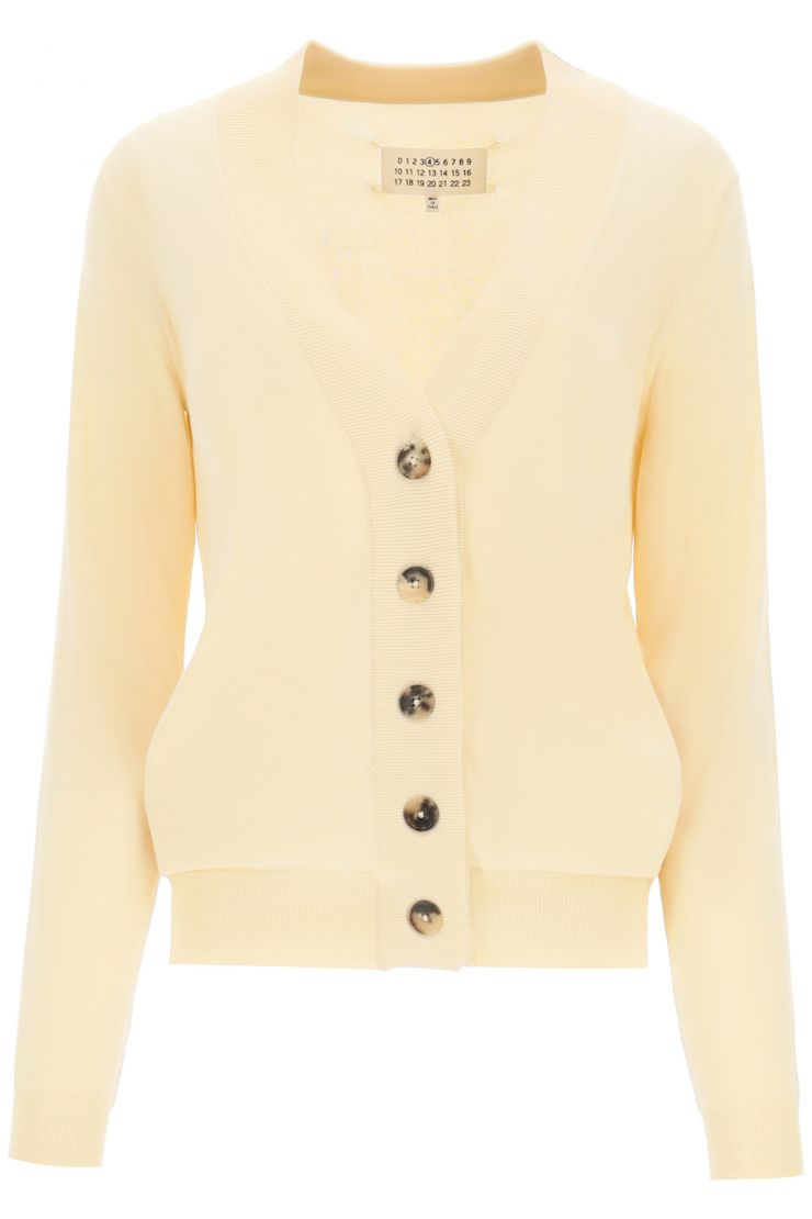 maison margiela essentials cotton cardigan with m embroidery