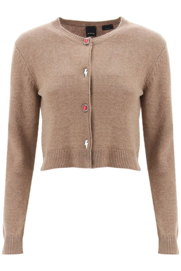 pinko knitwear cardigan with jewel buttons