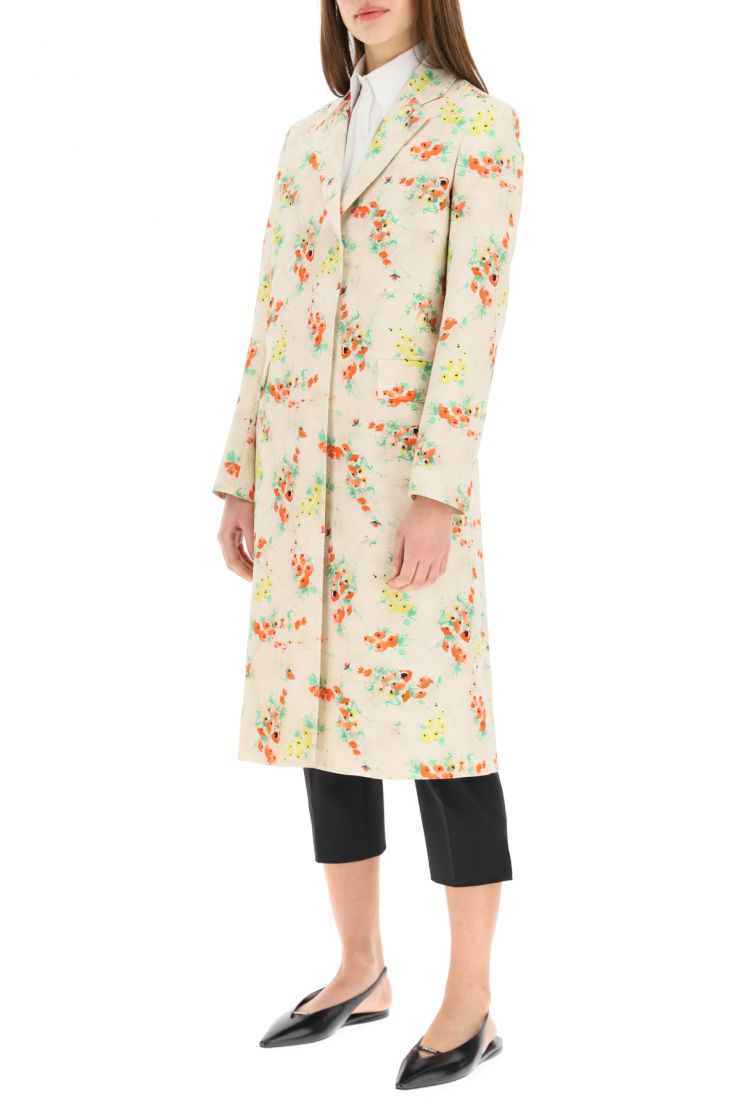 prada what to wear single-breasted overcoat in printed radzmire