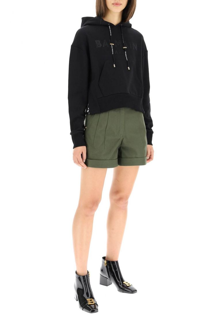 balmain trousers canvas shorts with belt