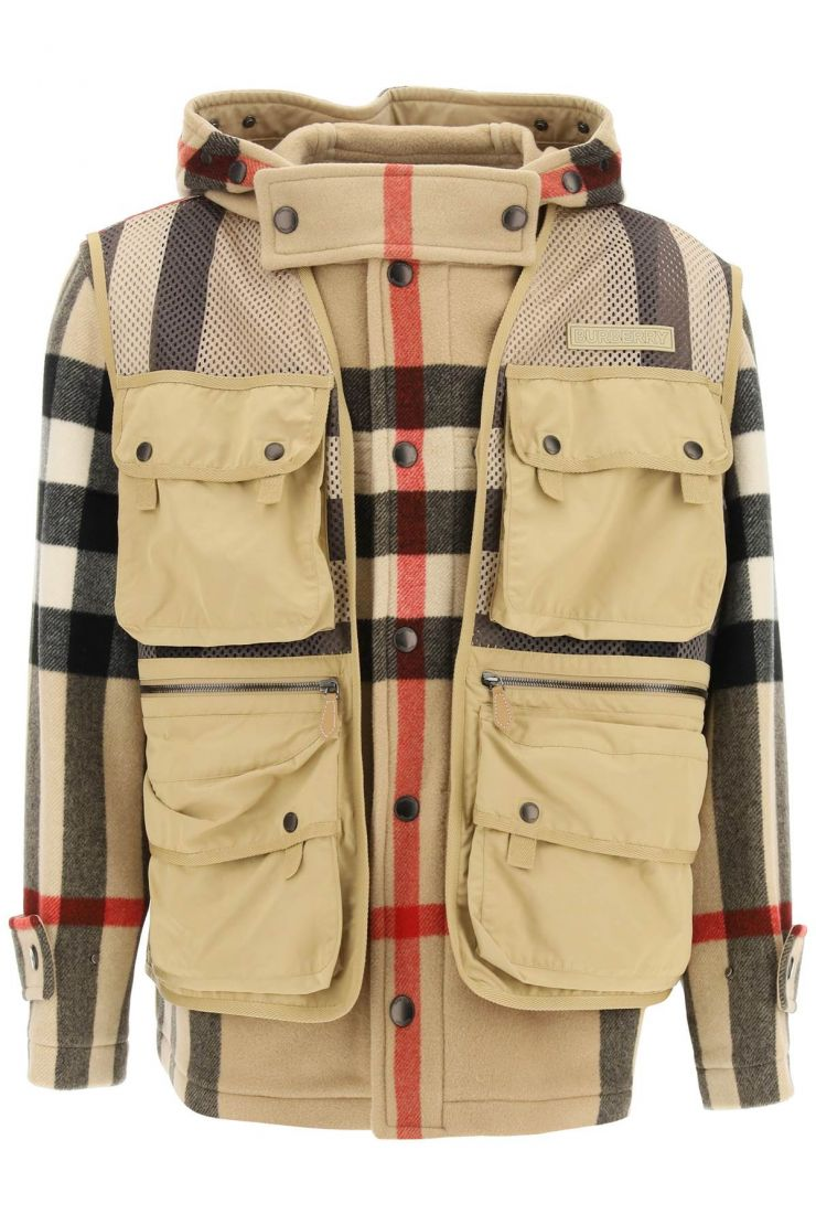 burberry giacconi giacca in lana con gilet staccabile
