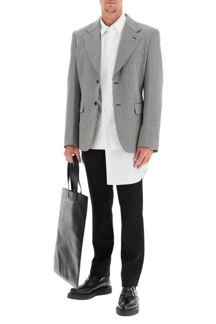 comme des garcons homme plus jackets/blazers houndstooth single-breasted jacket