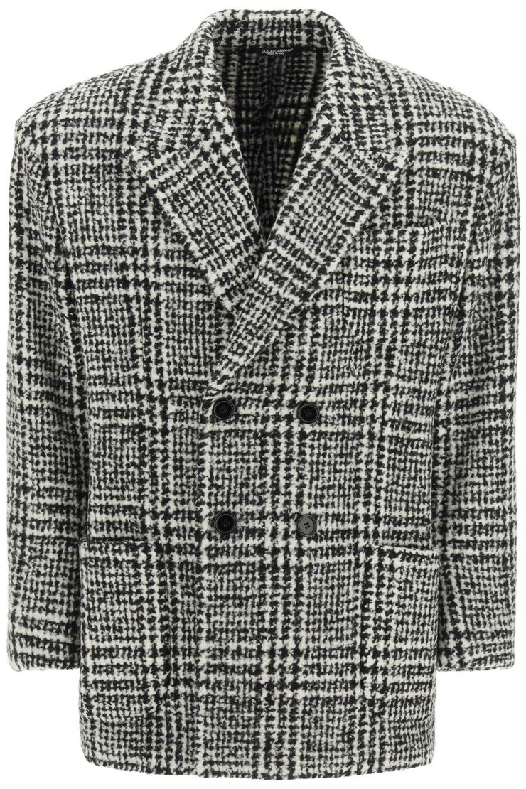 dolce & gabbana jackets/blazers checkered double-breasted wool jacket