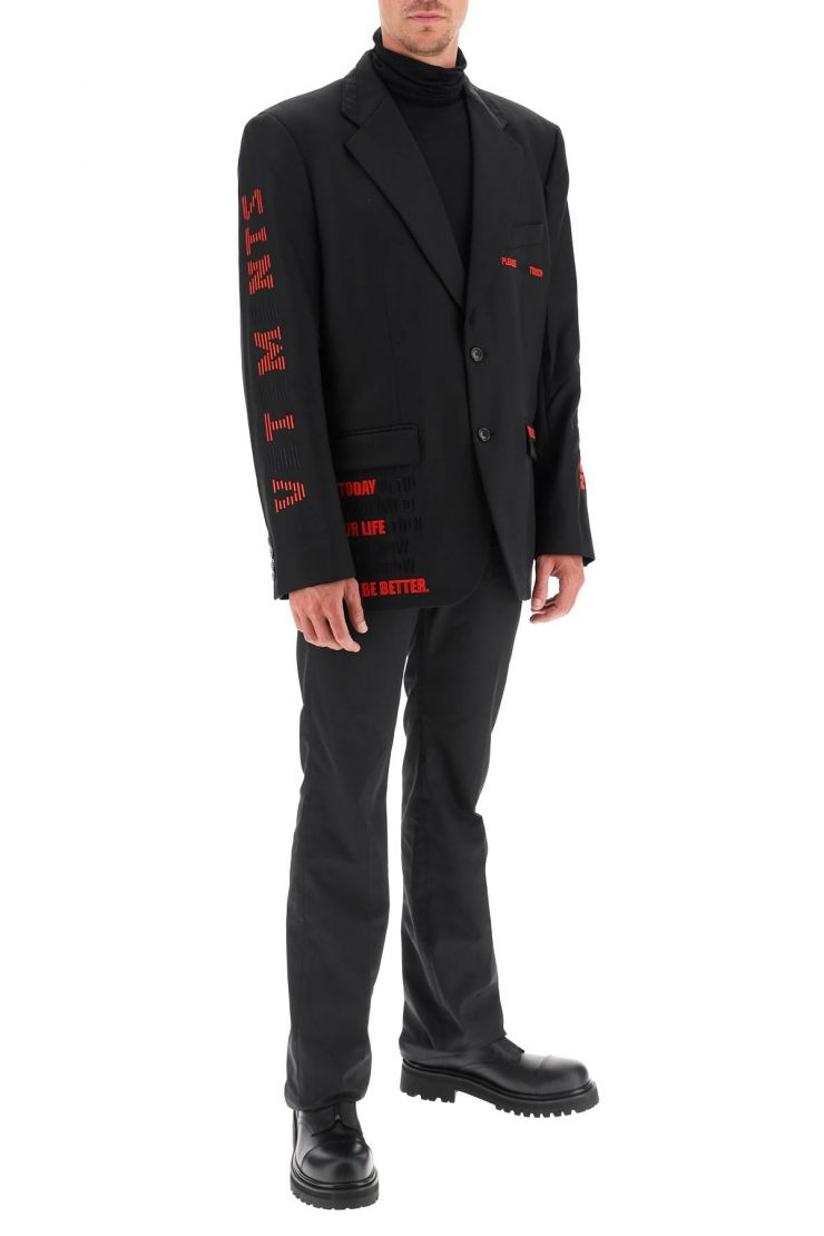 vetements jackets/blazers jacket with hidden message embroidery