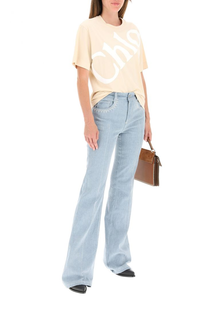 chloe' jeans flared jeans with lasered logo