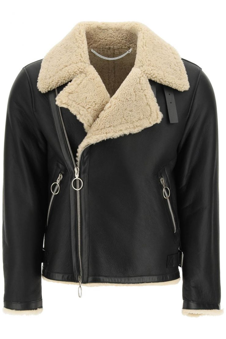 off-white capi in pelle giacca shearling corp