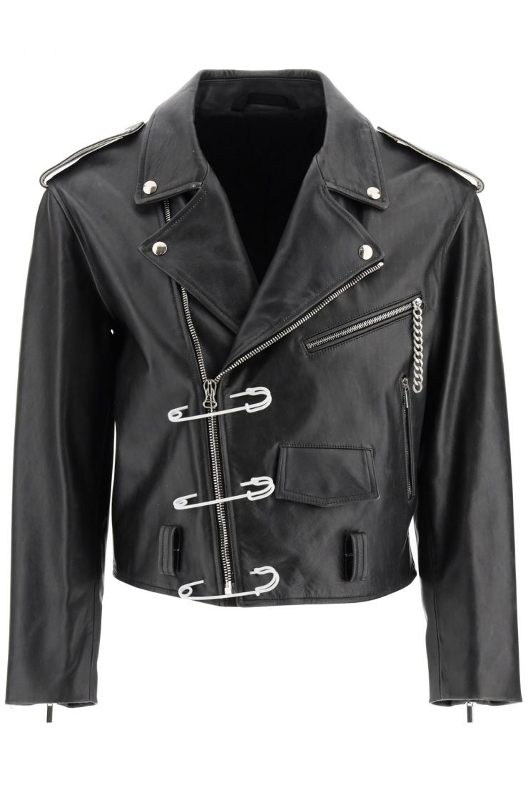 raf simons capi in pelle giacca biker con safety pin