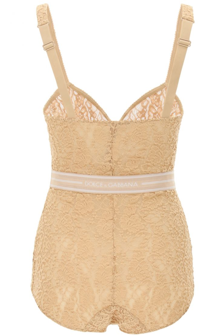 dolce & gabbana lingerie lace bodysuit with logo band