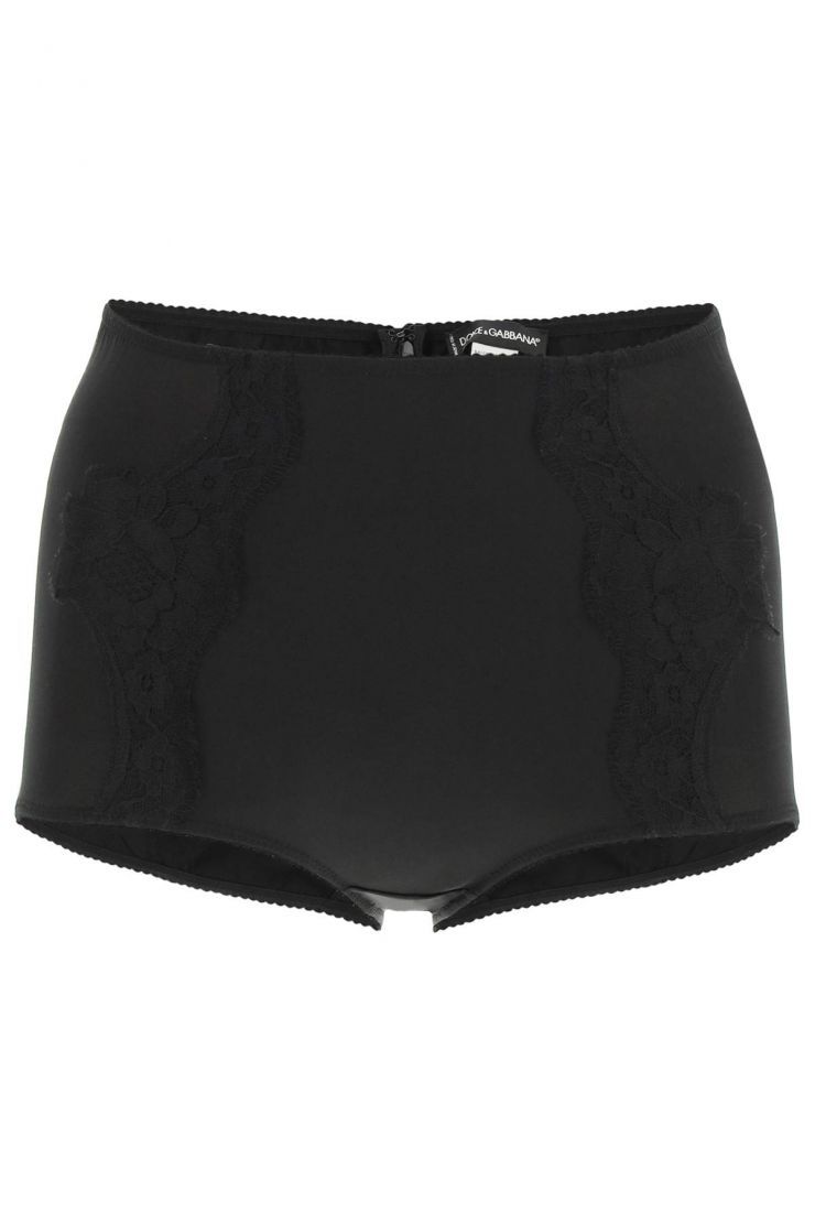 dolce & gabbana lingerie satin high waisted briefs with lace