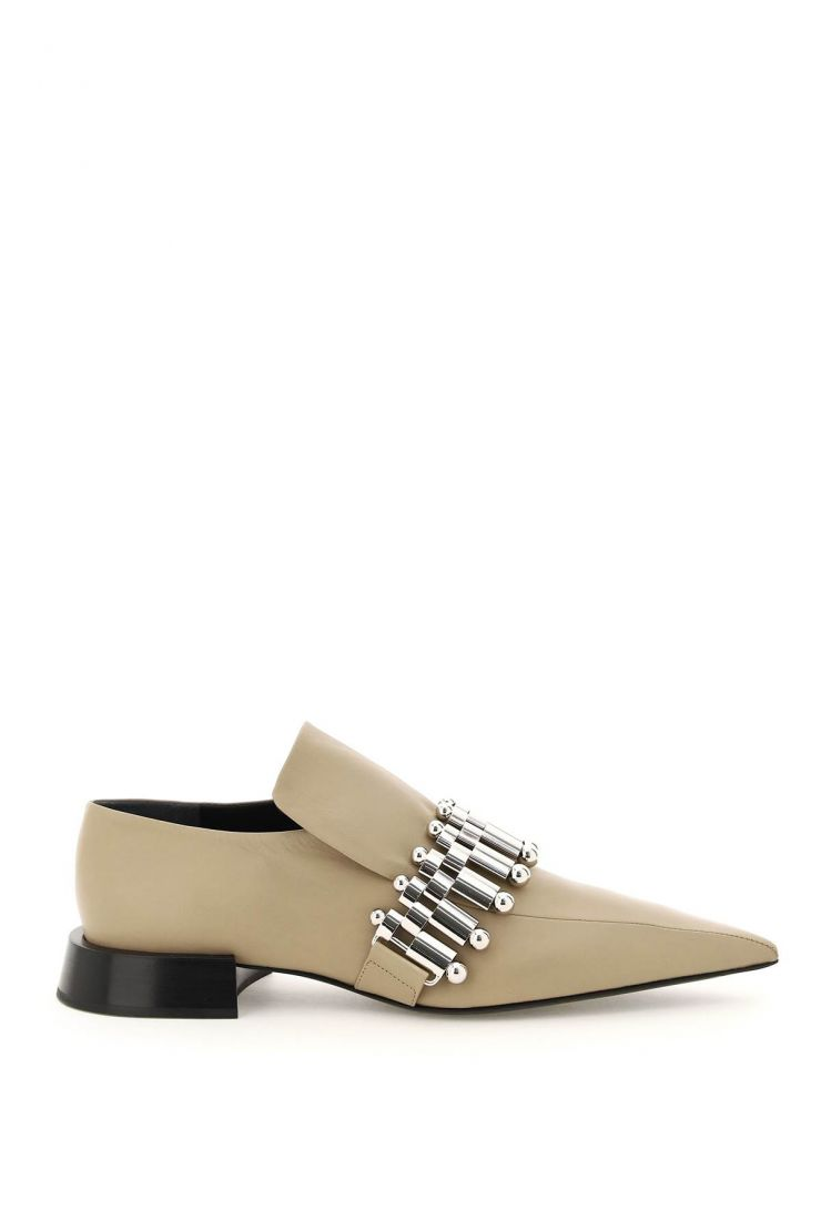 jil sander moccasins leather loafers with metal detail