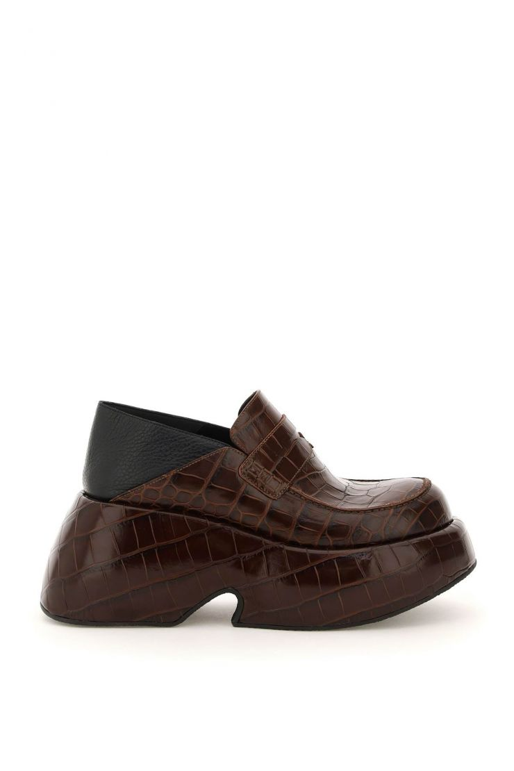 loewe moccasins croco embossed leather wedge loafers