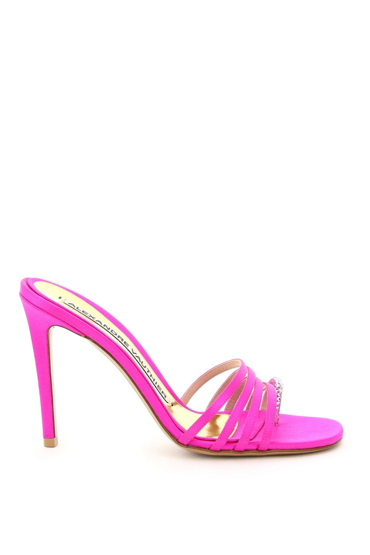 alexandre vauthier bra364 salma satin mules with crystals