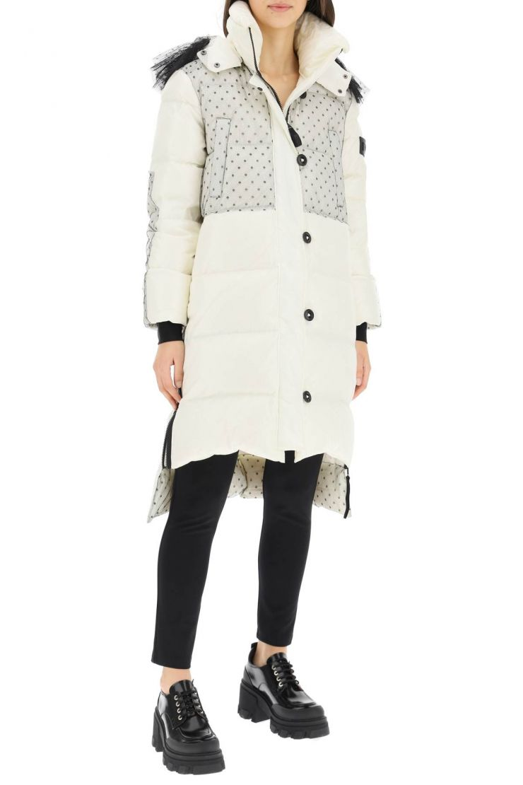 red valentino outerwear long down jacket with tulle details