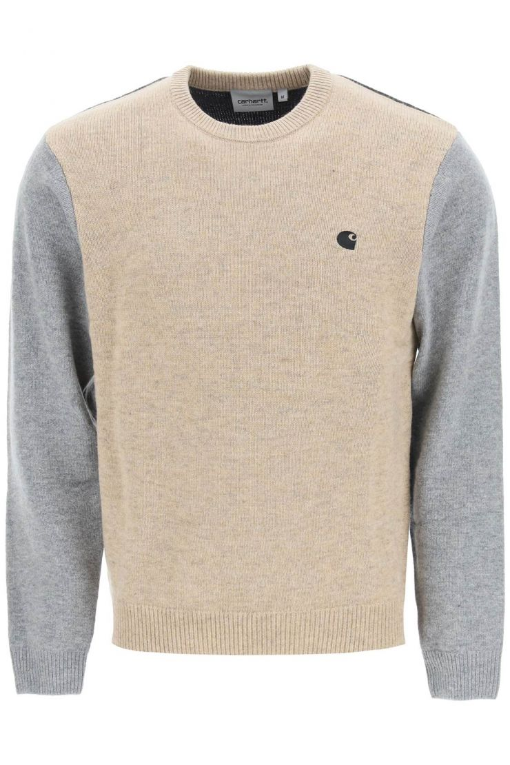 carhartt pullovers color block sweater with logo
