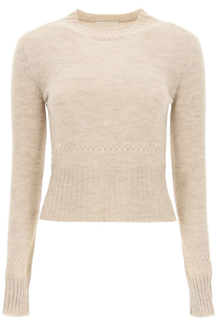 chloe' pullovers blend wool waisted sweater
