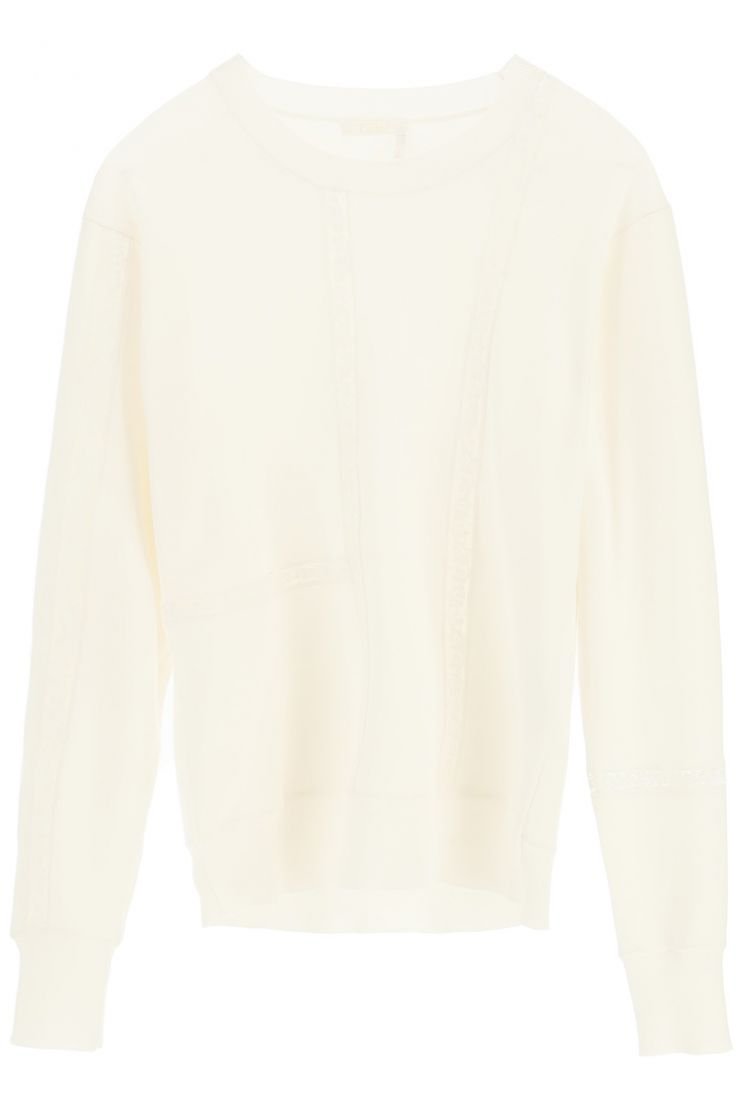 chloe' pullovers sweater with lace inserts