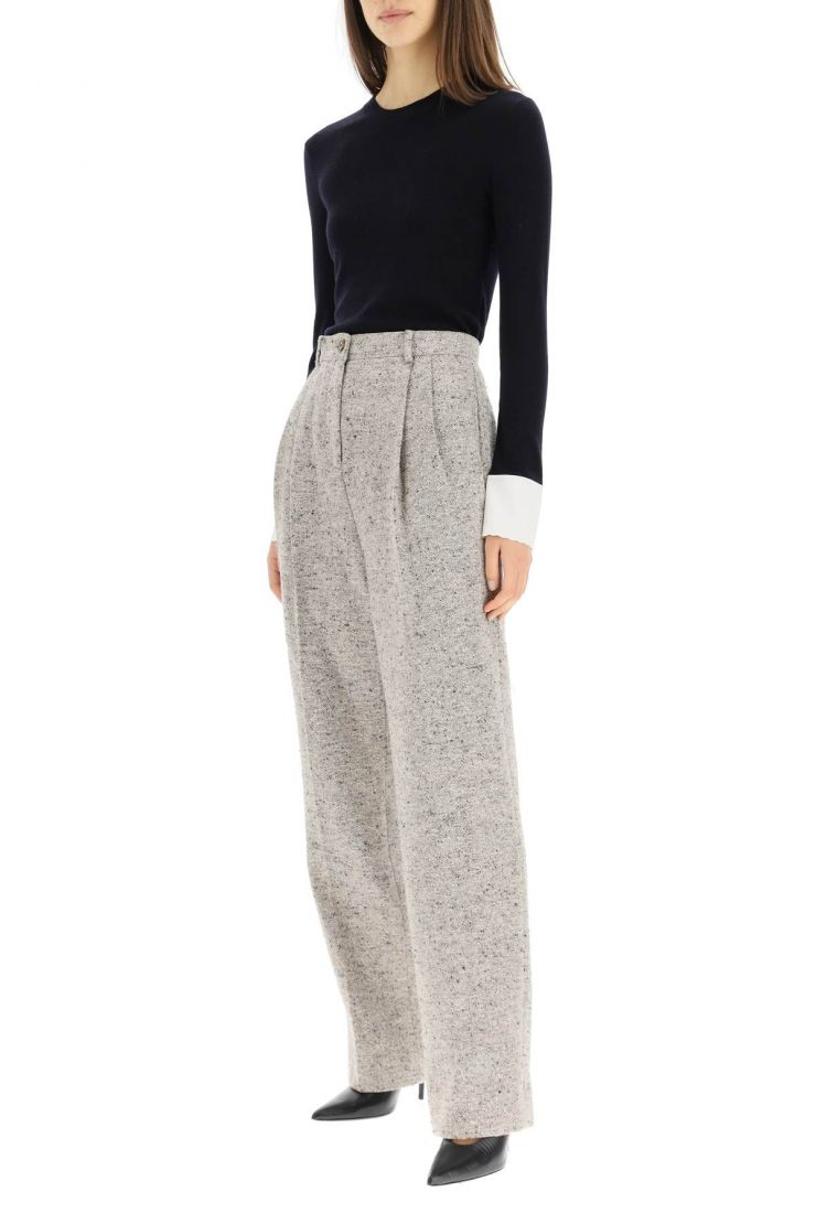 chloe' clothing wool sweater with embroidered cuffs