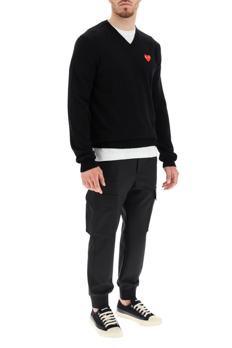 comme des garcons play pullovers pullover with heart patch