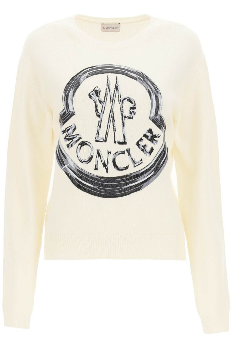 moncler pullovers maxi logo embroidery sweater
